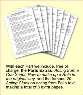 With each Part we include, free of charge, the Parts Extras: Acting From A Cue Script, How To Make Up A Role In The Original Way, and the famous 20 Acting Clues