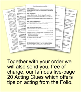 Together with your order we will also send you, free of charge, our famous five-page 20 Acting Clues